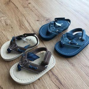 Boys sandals Blue never worn, Brown worn twice